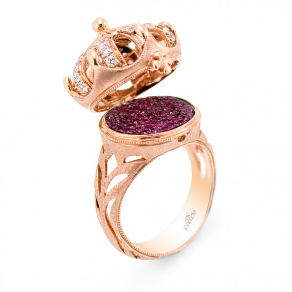 Crown ring in 18k rose gold has 0.73 ct. rubies and 0.53 ct. diamonds; $6,600. Parade Design