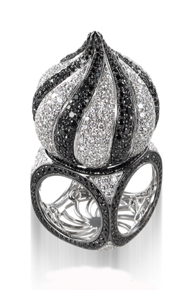 Palace ring in 18k white gold has 7.77 cts. t.w. black diamonds and 6.70 cts. t.w. colorless diamonds; $41,000. Siera Jewelry