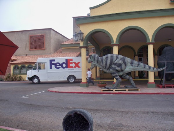 Dinosaur at Hotel Tucson City Center front entrance