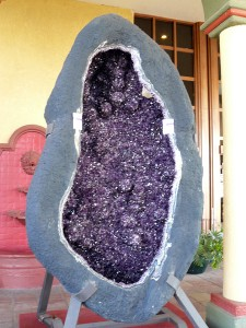 Giant amethyst cavity, seen at the Arizona Mineral & Fossil Show entrance (Hotel Tucson City Center)