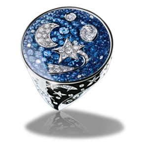 Chanel Comète Ring in 18K white gold, sapphires, diamonds, and sapphire crystal.