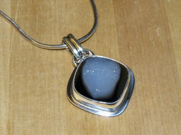 Silver bezel pendant with quartz drusy cabochon