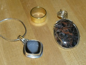 Three (not-so-easy) pieces: silver bezel pendant with quartz drusy cabochon, brass ring, silver wire-wrapped pendant with granite cabochon