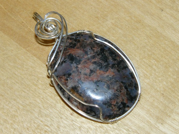 Wire-wrapped pendant, featuring a lovely granite cabochon