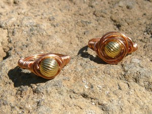Wrapped rings, in copper wire, jewelry by Danielle Rose