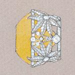 Sunburst details of the Tiffany Diamond Setting