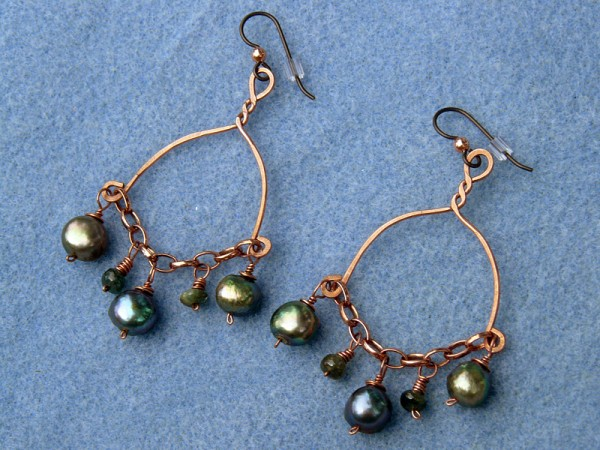 Earrings, copper wire, green freshwater pearls, and green tourmaline beads.