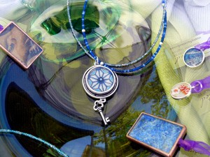 Pendants and strung necklaces by Many Faceted, Mt. Shasta 4th of July street fair, July 2 & 3, 2012