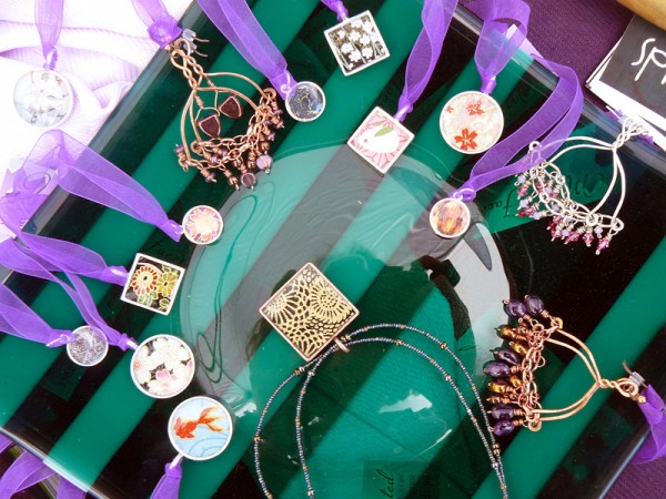 Resin pendants, beaded necklaces and earrings by Many Faceted