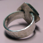 Back of ring, with hammered shank