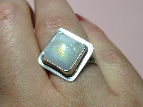 Moonstone ring in sterling silver, made by me!