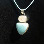 Finished larimar & rainbow moonstone pendant, May 2013