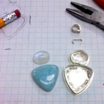 Larimar & rainbow moonstone pendant, in progress, May 2013