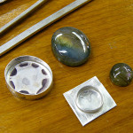 Labradorite cabochons and bezels in progress, July 2013