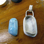 Larimar pendant, in progress, July 2013