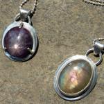 Star ruby and labradorite pendants, June 2013