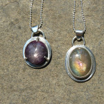 Star ruby and labradorite pendants, June 2013
