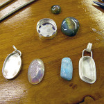 Larimar and quartz drusy pendants, in progress, July 2013