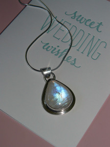 Rainbow moonstone pendant, May 2013