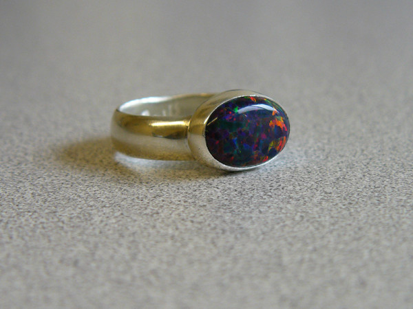 Synthetic opal ring by Danielle Signor, March 2014