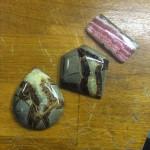 Jasper and rhodochrosite stones