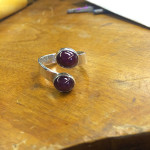 Finished double ruby cabochon ring, June 2014