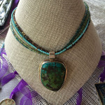 Finished Hubei turquoise pendant on multi-strand beaded chain, July 2014