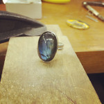 Finished labradorite ring, August 2014