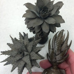 Whole succulents, cast in bronze by Jonathan Russell.