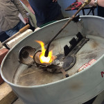 Heating the silver until molten.