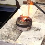 Starting to melt the bronze.