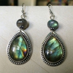 Finished earrings, with labradorite rondelles.