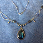 Finished necklace, with labradorite rondelles and sterling drops and chain.