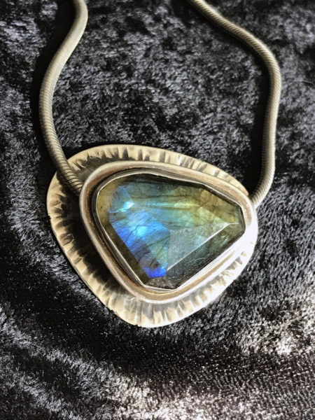 Faceted labradorite slider pendant, sterling silver, August 2017