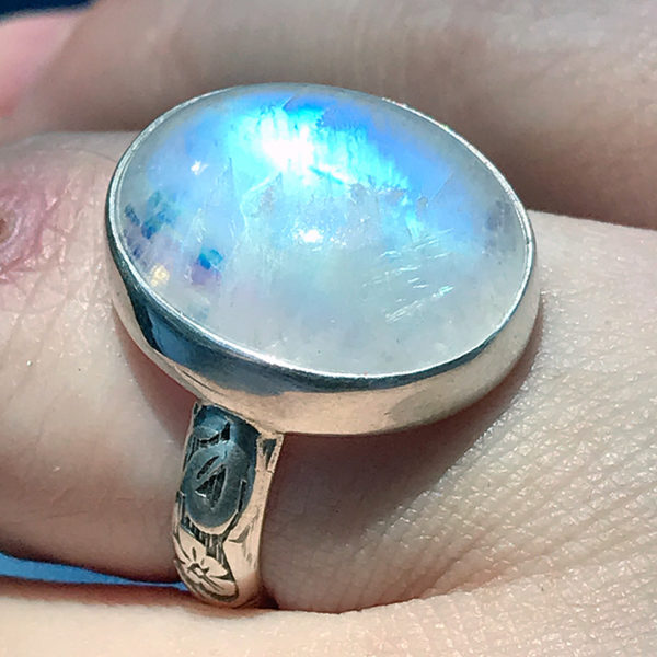 Spectrolite moonstone ring in sterling silver, August 2019.