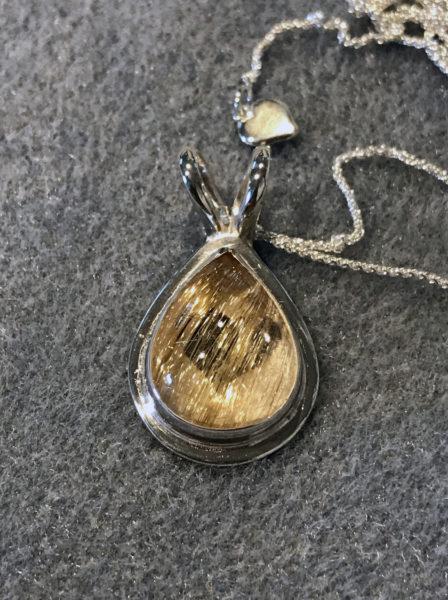Rutilated quartz pendant in sterling silver, commission, September 2019