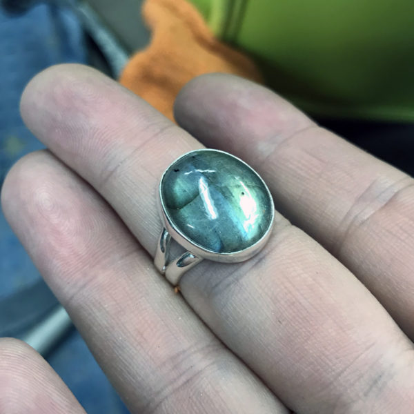 Green labradorite ring in fabricated sterling silver setting, gift. February 2018.
